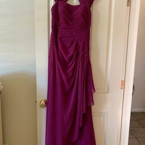 Burgundy long dress, one time worn size 8